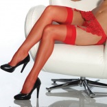 Sheer Thigh High Stockings - Red