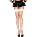 White Silicone Lace Top Spandex Diamond Net Thigh Highs 49317
