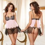 Lace and Chiffon Underwire Flyaway Babydoll with Scalloped Cups and Lace Thong 10105
