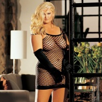 Black Mesh Fishnet Dress Queen Size 90018Q