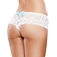 White Open Boyshort Panties 7177