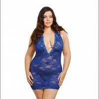 Lace Halter Chemise with Rhinestone Criss-Cross Queen Size 10440