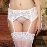 Stretch Lace Garter Belt - White QUEEN 8735X