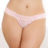 Stretch Lace Low-Rise Thong - Pink QUEEN 1376X