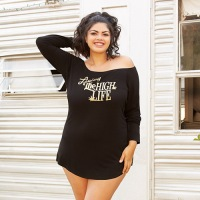 Sleepshirt Off-The-Shoulder Jersey Black Plus 42028X