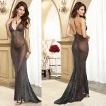 Shimmer Stretch Mesh Gown 10013