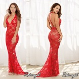Stretch Lace Gown Red 10131