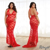 Stretch Lace Gown Red Queen 10131