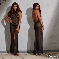 Sheer Mesh & Lace Gown 10530