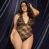 Stretch Lace Halter Teddy & Lace Eye Mask Queen 10957