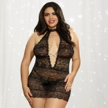 Collared Neck Lace Chemise Queen 10964X
