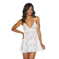 Stretch Lace Babydoll White 31193