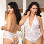 Lace Teddy with Heart Cut-Out - Naughty Vows Queen Size 8694