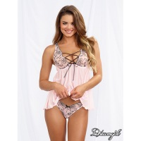 Embroidered Vintage Pink Babydoll 11018