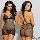 Stretch Fishnet Chemise with Lace Cups Black 11208