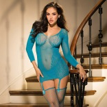 3 Piece Set - Stretch Lace Chemise / Garters / Stockings / G-String 90413