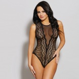 Stretch Sheer & Lace Mesh Sleeveless Bodysuit 11205