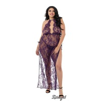 Eyelash Lace Toga-Style Gown Queen - Plum 11216