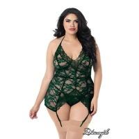 Stretch Lace Halter Garter Slip Plus 11247x