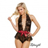 Scalloped Stretch Lace Teddy with Bow 10424