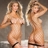 Black Fishnet Chemise with Pearls 90429
