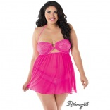 Stretch Lace Halter Babydoll Hot Pink Queen 11241x