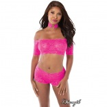 Three Piece Lace Set Hot Pink 11240