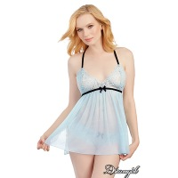 Stretch Mesh Babydoll - Light Blue 11483