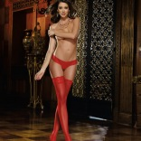 Sheer Red Thigh Highs - Oxford 0081